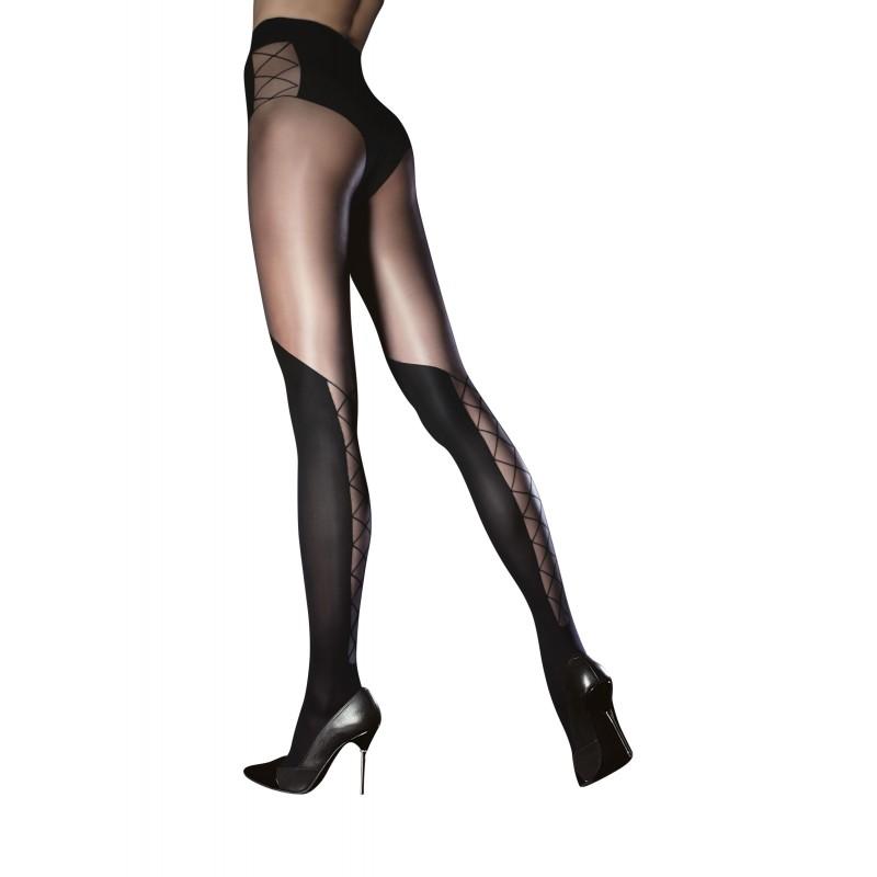 Collant noir sensuel avec effet lacé sur hanche et mollets Fiore