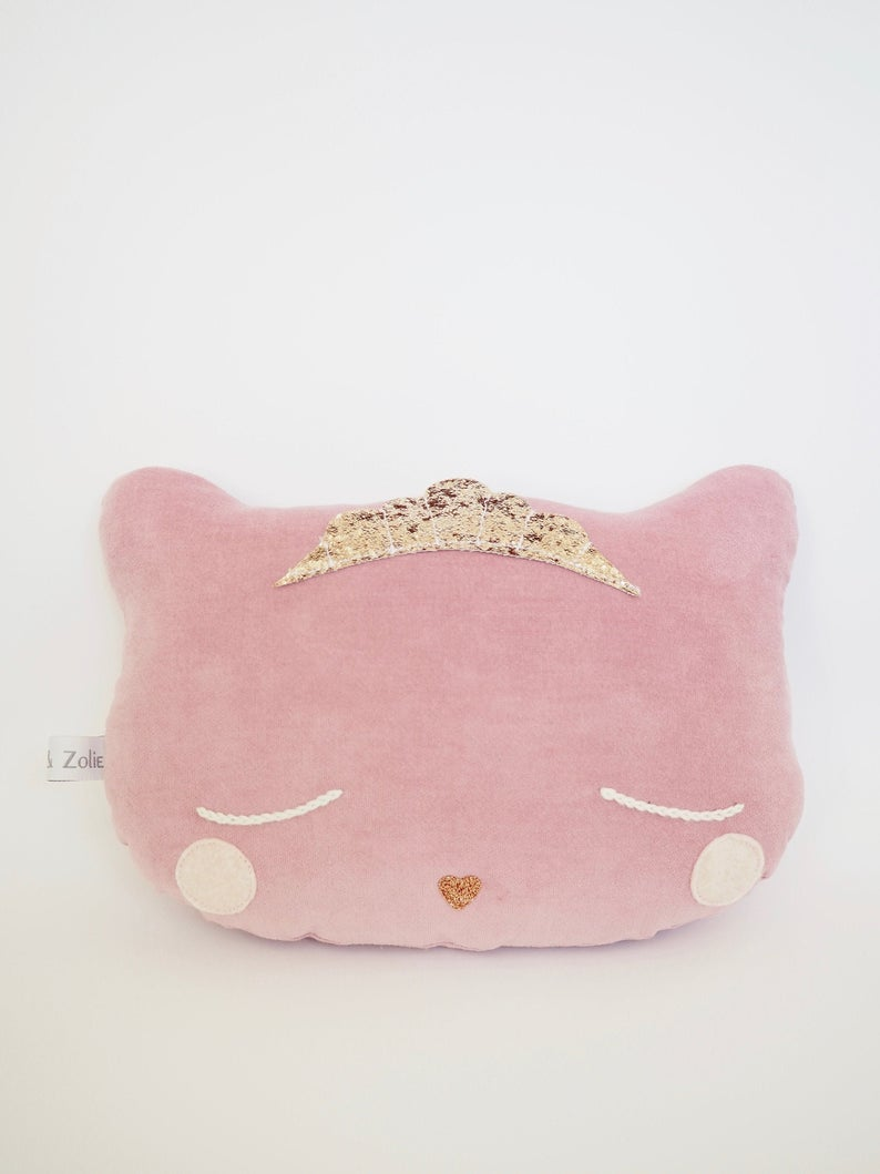 Coussin Chat Princesse rose