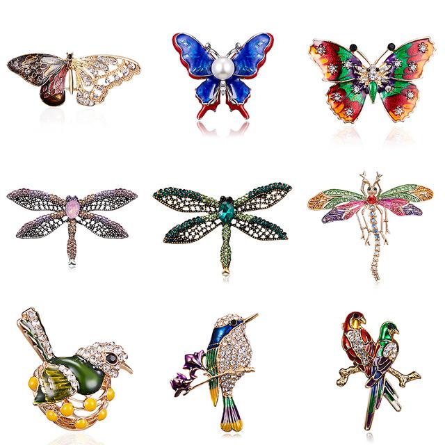 Différentes broches en Alliage Pourpre Émail strass Papillon libellule et oiseaux au choix