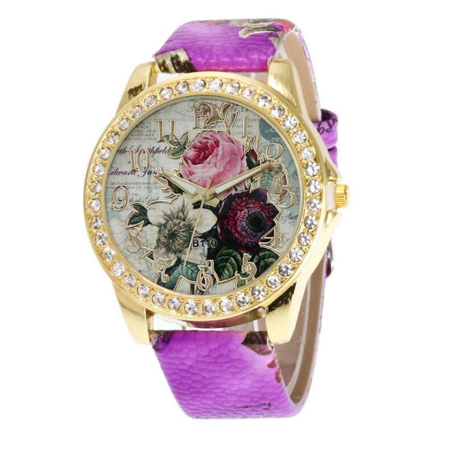 Montre rose vintage bracelet cuir haute qualité