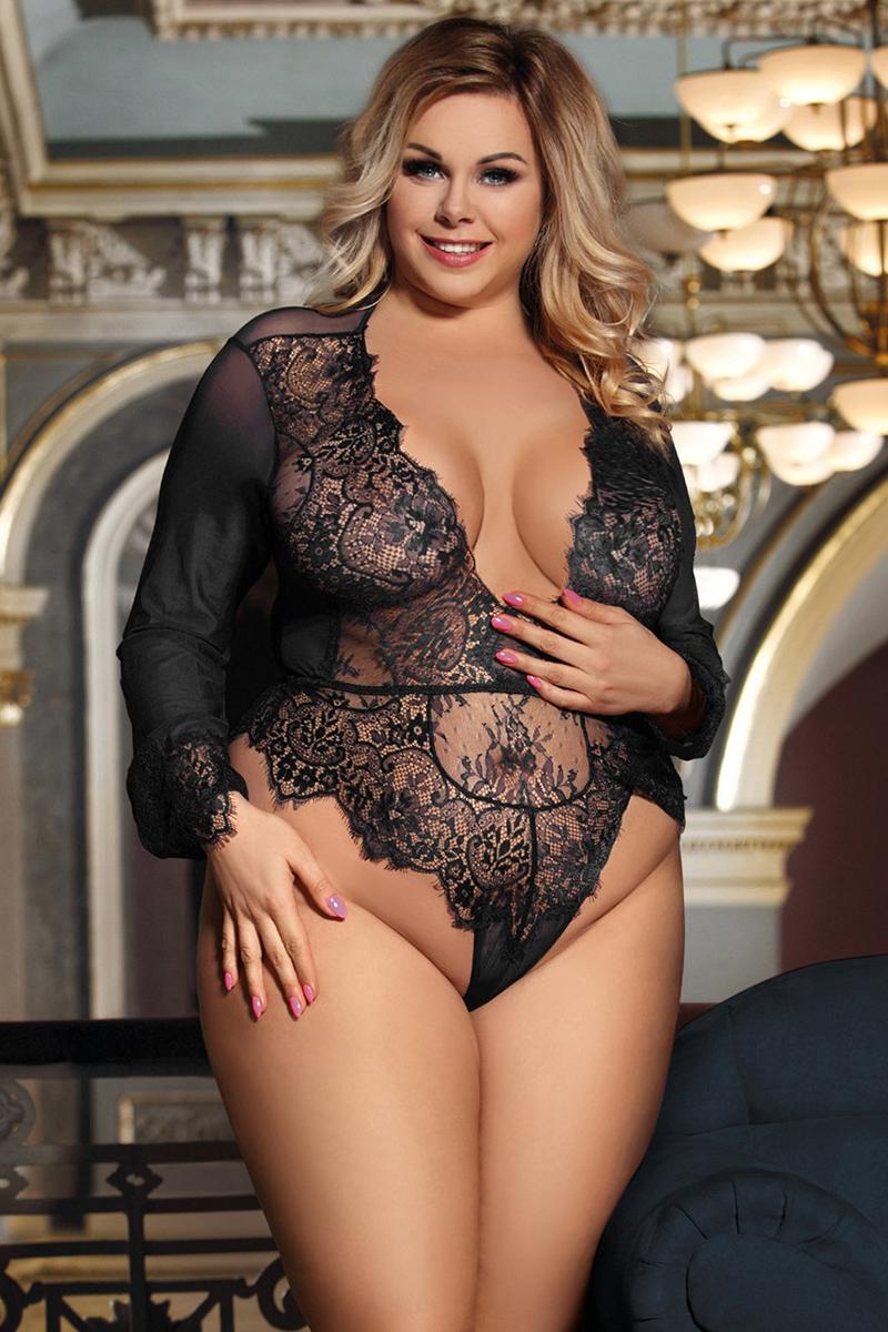 Body sexy grande taille en voile et dentelle jusqu\'au 5XL