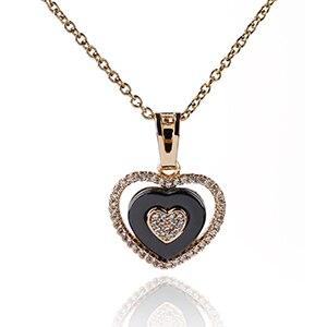 Collier avec pendentif cœur en or rose et céramique noire