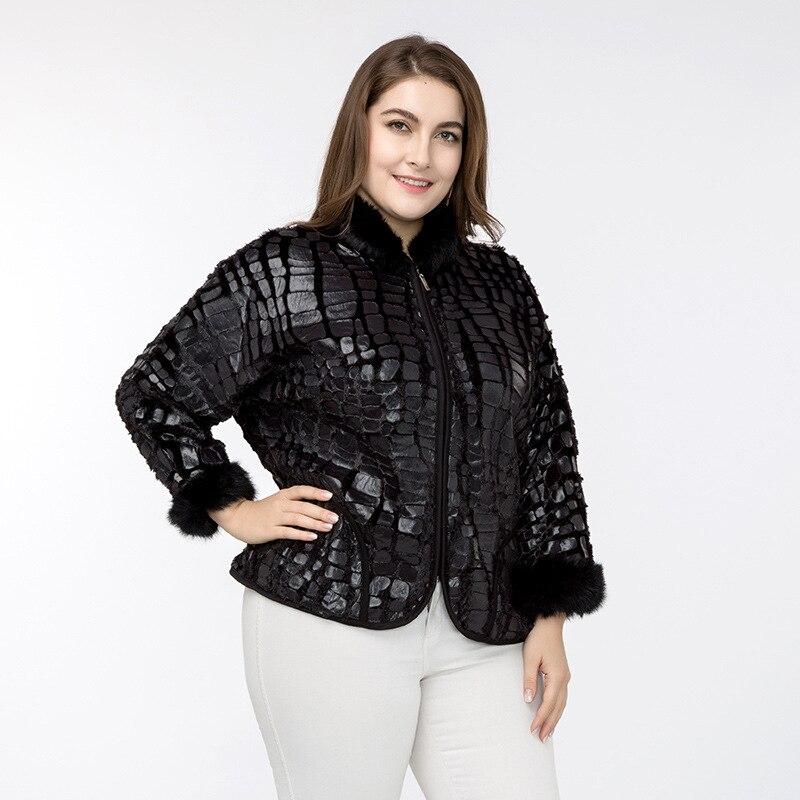 Veste grande taille en imitations croute de cuir pour l\'hiver