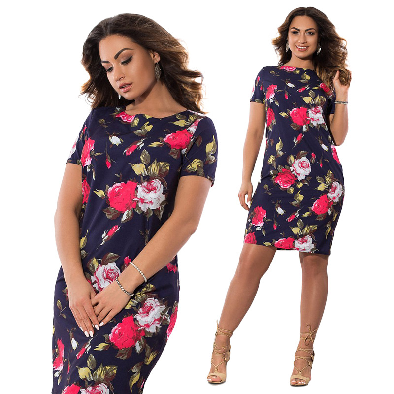 Robe grande taille fleurie printemps-automne