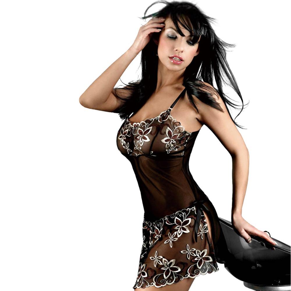 Robe transparente grande taille en dentelle sexy