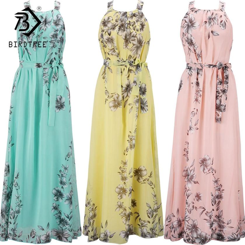 Grande Taille S-6XL 2018 Longues Robes Imprimé Floral Robe Avec Écharpes