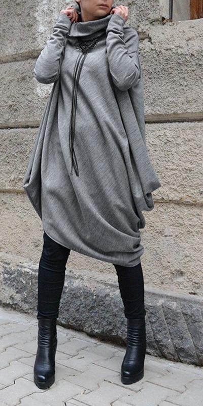 Robe d\'hiver grande taille en tricot et col roulé