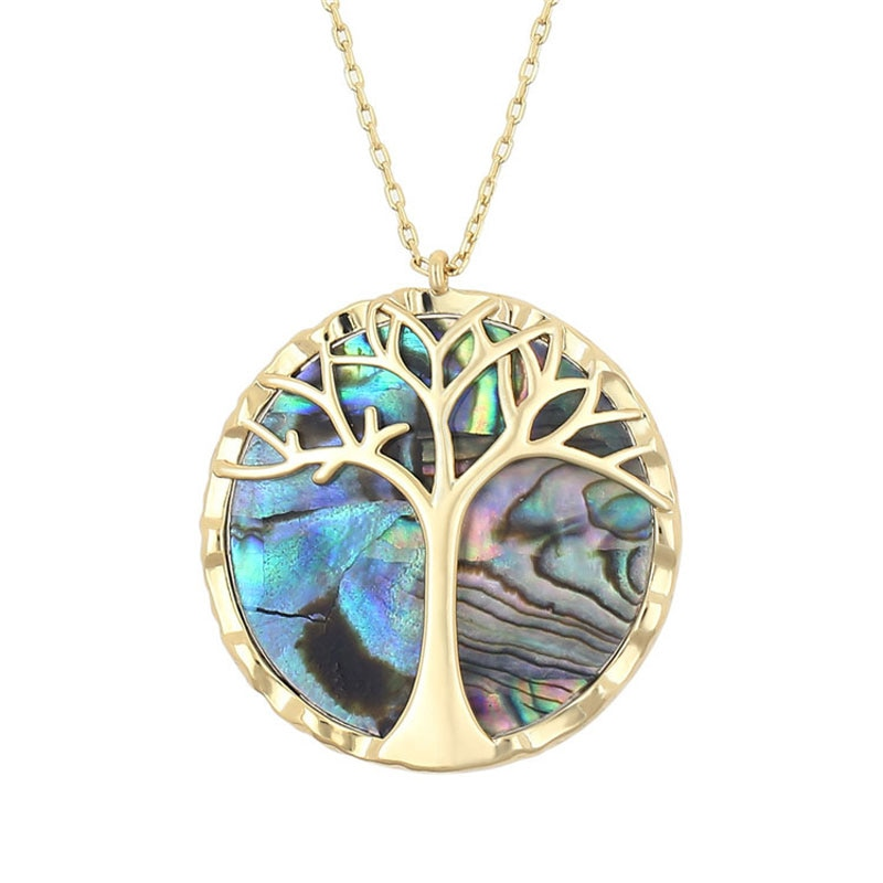 Collier avec pendentif rond arbre de vie et nacre