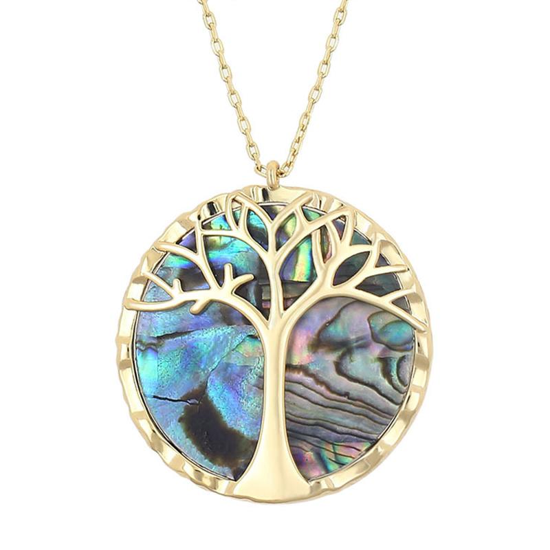 Fanqielie-naturel-Abalone-Shell-Pedant-collier-pour-femmes-r-glable-cha-ne-en-or-Vintage-arbre