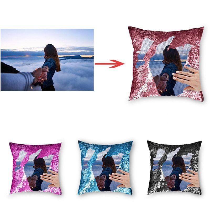 La taie d\'oreiller en sequin réversible personnalisée avec votre photo