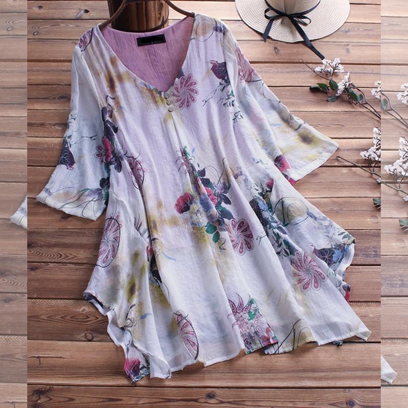 Chemise blouse fleurie très grande taille 3XL au 9XL