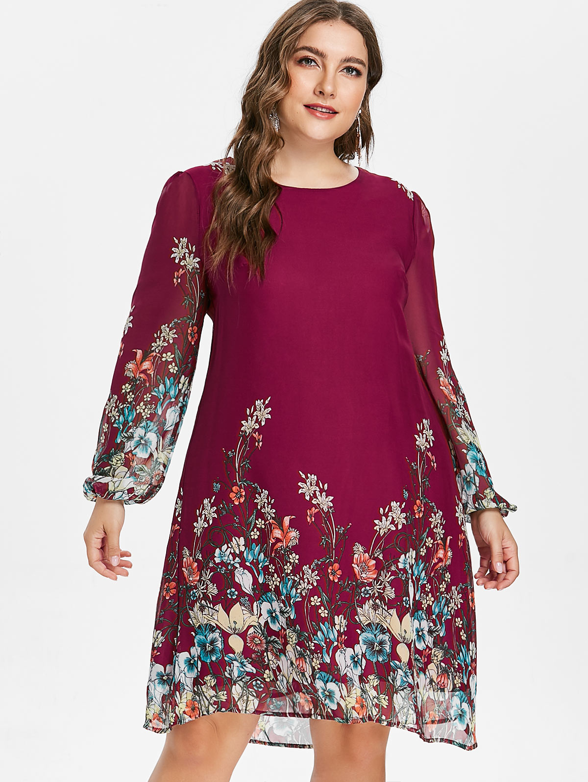Wipalo-grande-taille-imprim-fleuri-tunique-femmes-robe-manches-longues-automne-l-gant-Tribal-fleur-imprimer
