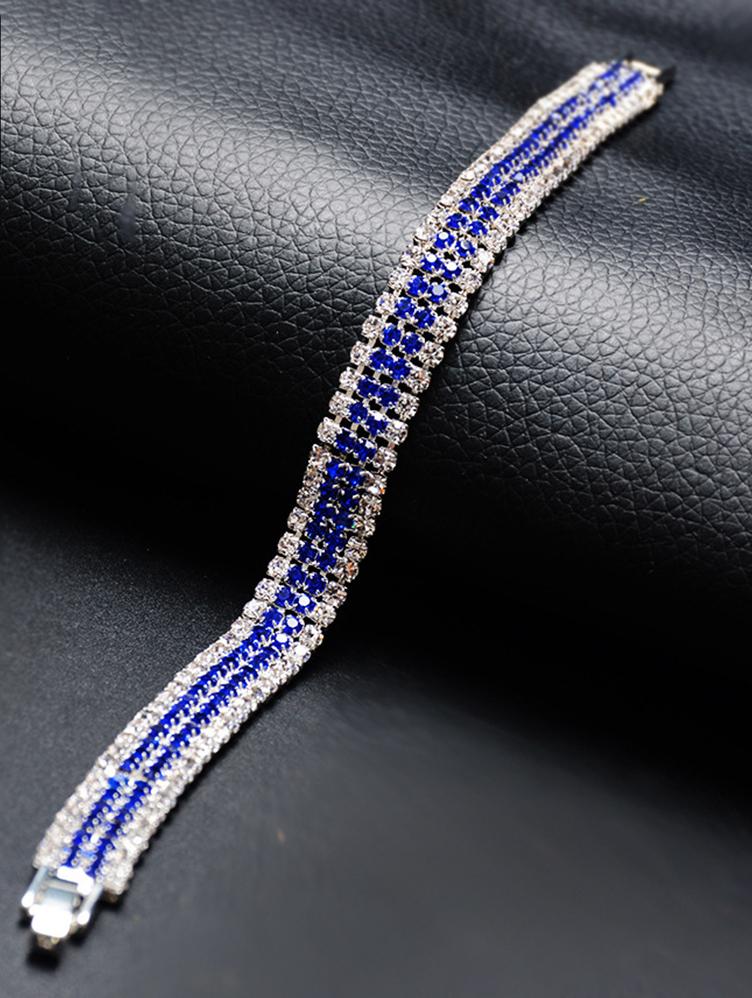 Beau Bracelet en strass bleu rouge ou vert
