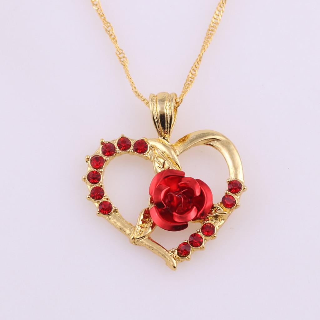 Collier zircon roses rouges pendentif en forme de coeur