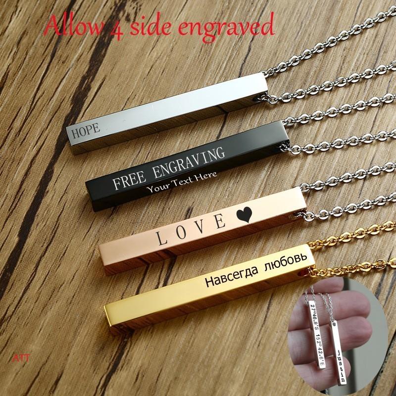 Collier Pour homme ou femme En Noir, Or, Argent ou or rose à personnalisé sur 1,2,3 ou 4 coté