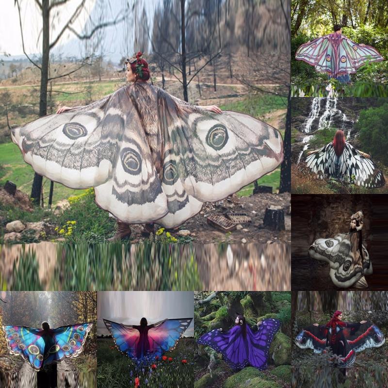 Paréo papillon trés grande taille en mousseline de soie