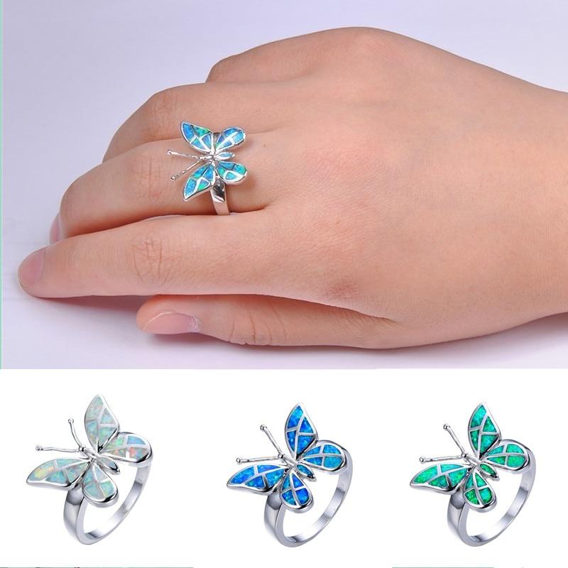 Bague papillon émail opale de feu