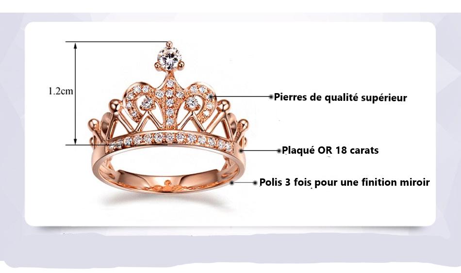Bague couronne en plaqué or 18 carat