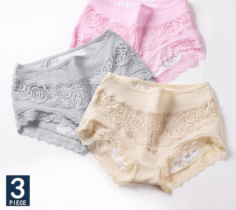 Culottes menstruelles grande tailles en dentelle par 3