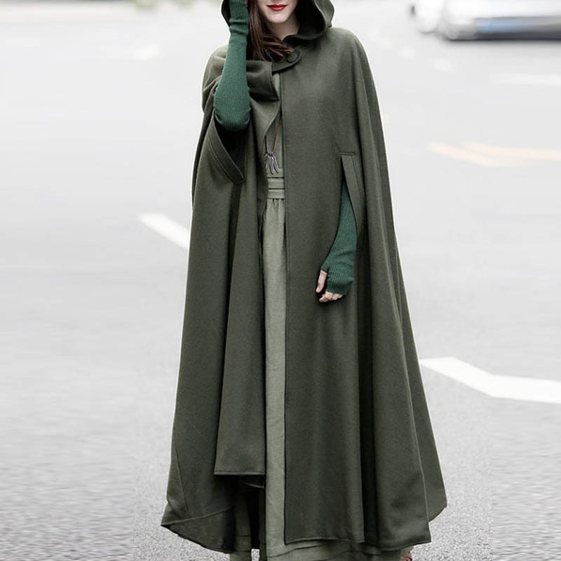 Manteau victorien léger grande taille avec capuche