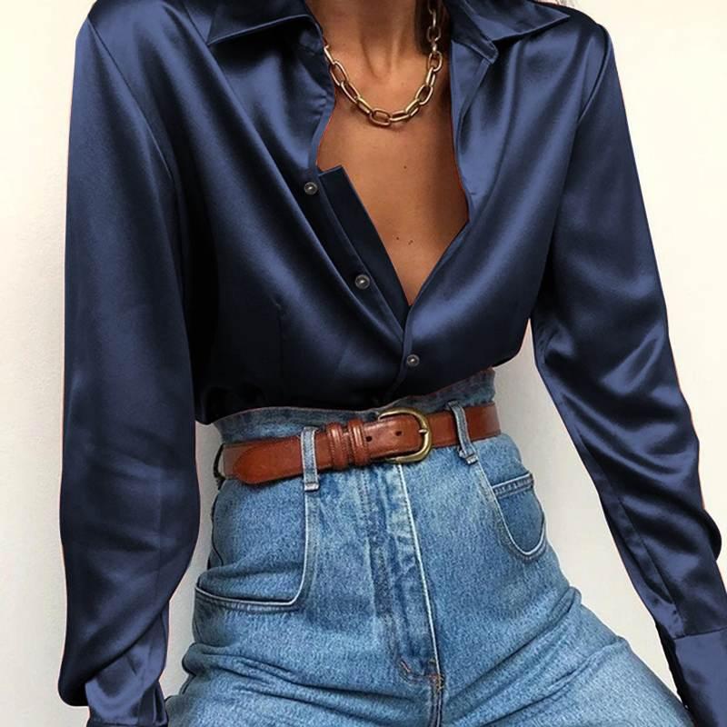 Chemises automne manches longues grande taille en satin