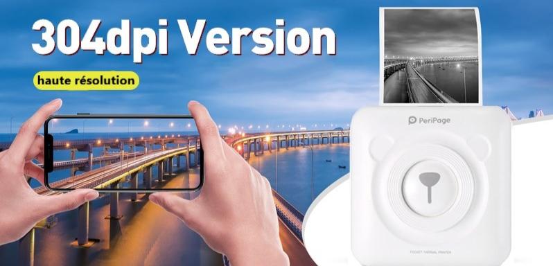 Mini imprimante portable thermique pour smartphone 304 DPI