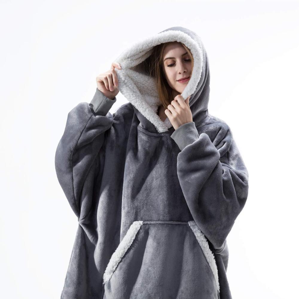 Sweat-capuche-couverture-avec-manches-Sweat-Plaid-hiver-polaire-capuche-femmes-poche-Femme-Sweat-capuche-Oversize