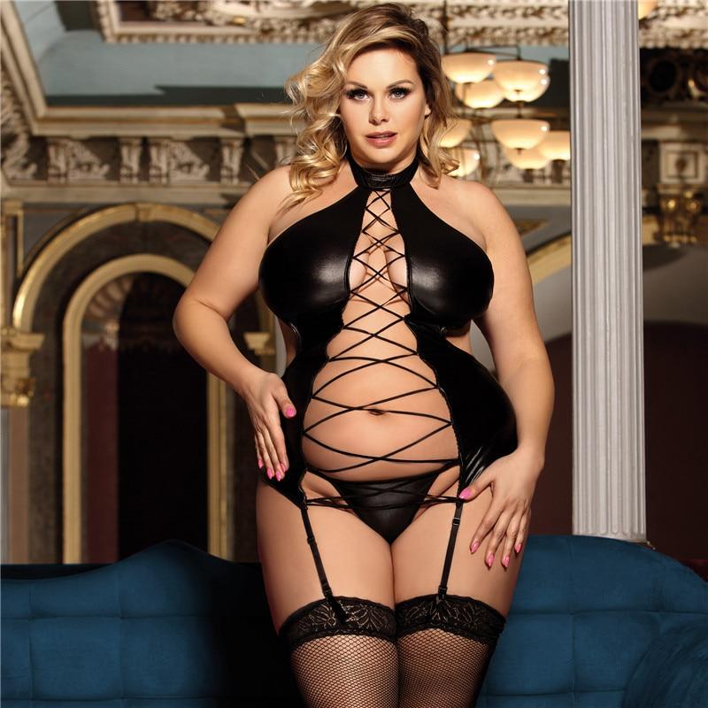 Body sexy en cuir synthétique grande taille