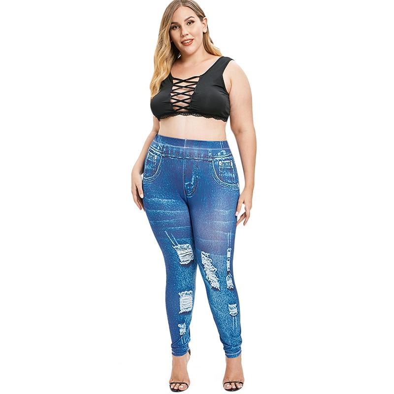 Jeans genre déchiré grande taille jusqu\'au 5 XL