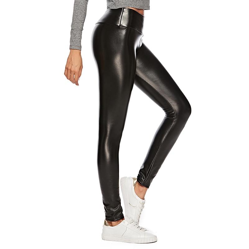 Leggings sexy en imitation cuir intérieur velours noir très solide