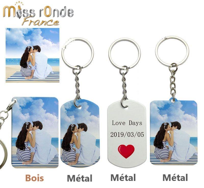 Porte clef gravé 1 ou 2 faces avec vos photos et votre texte
