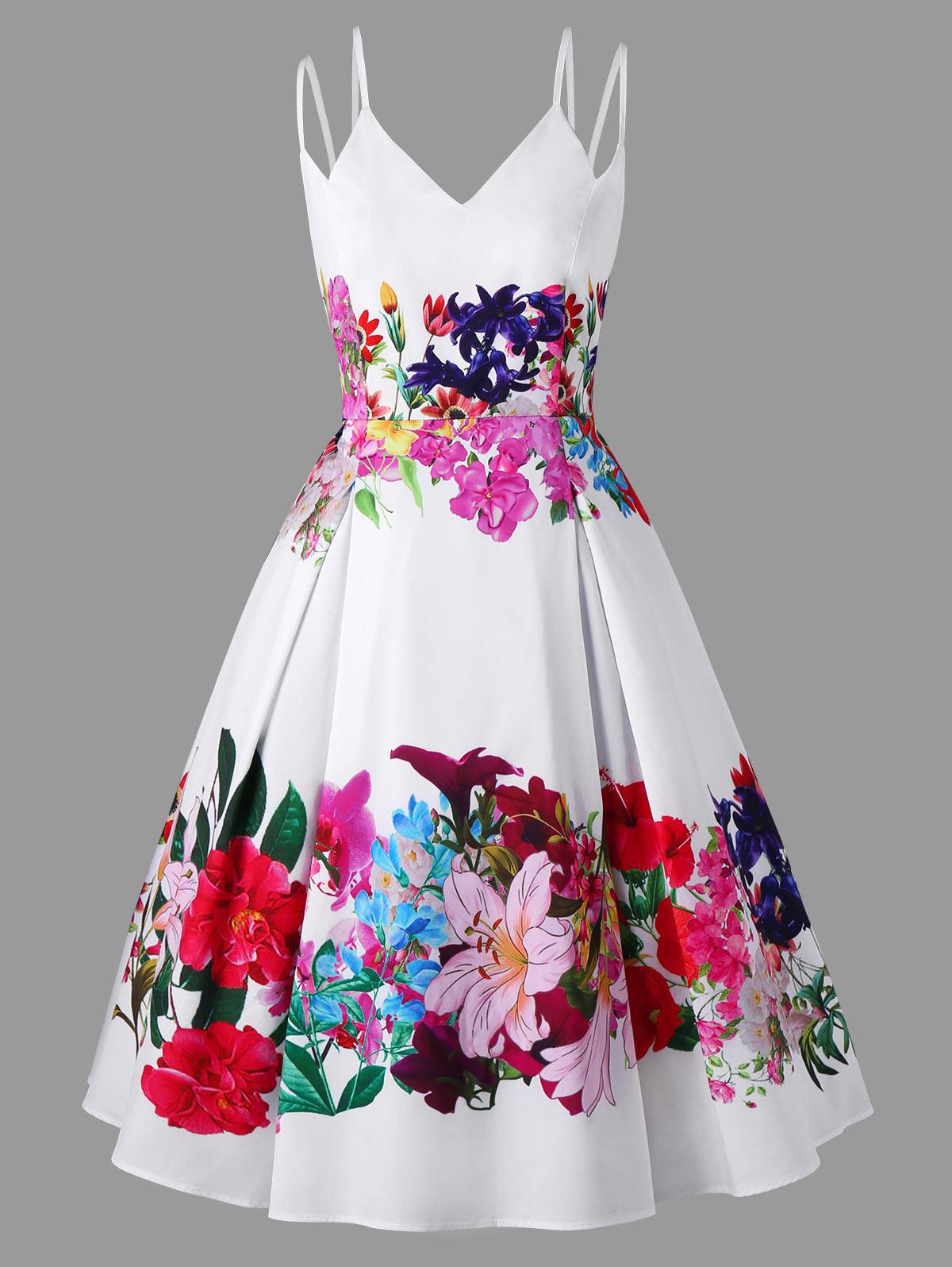 Trés belle robe vintage a double bretelle motif florale d\'été
