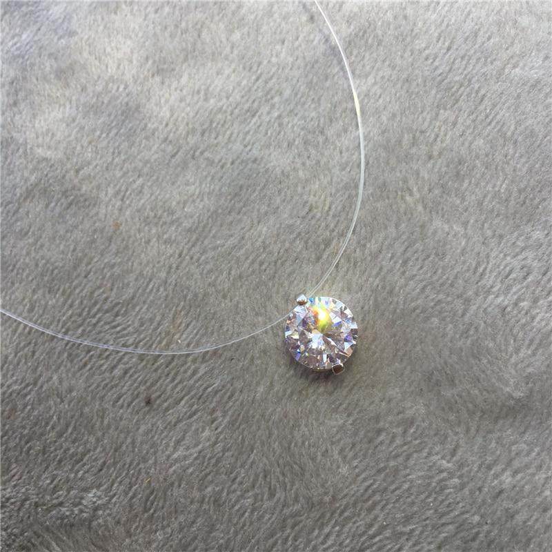 Ras du cou Invisible Fil de nylon Collier En Cristal Zircon