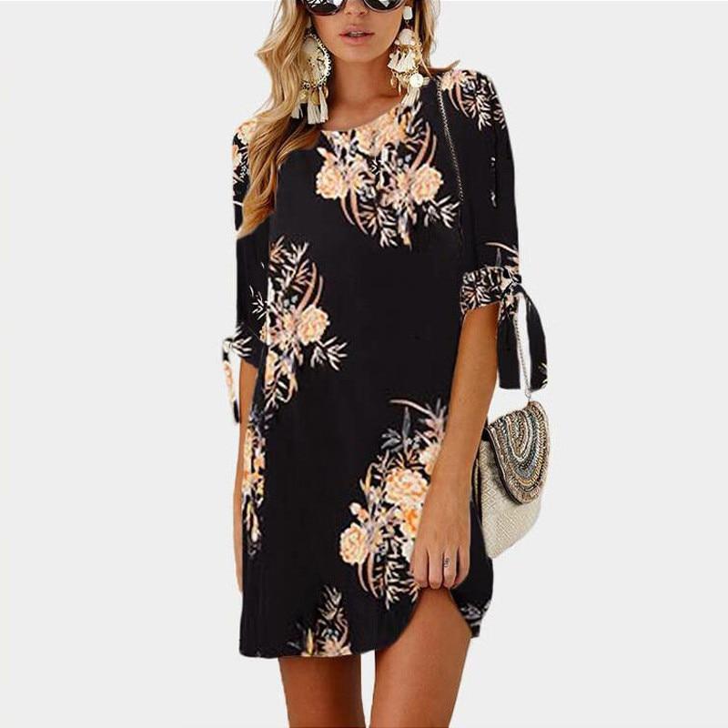 robe d'été, style Boho en mousseline de soie imprimé floral; robes grande taille5XL.