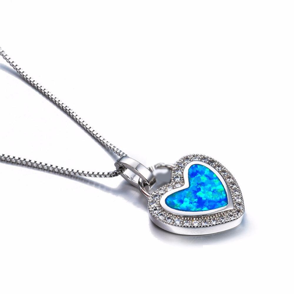 Pendentif Cœur En Cristal Argent et pierre imitation turquoise