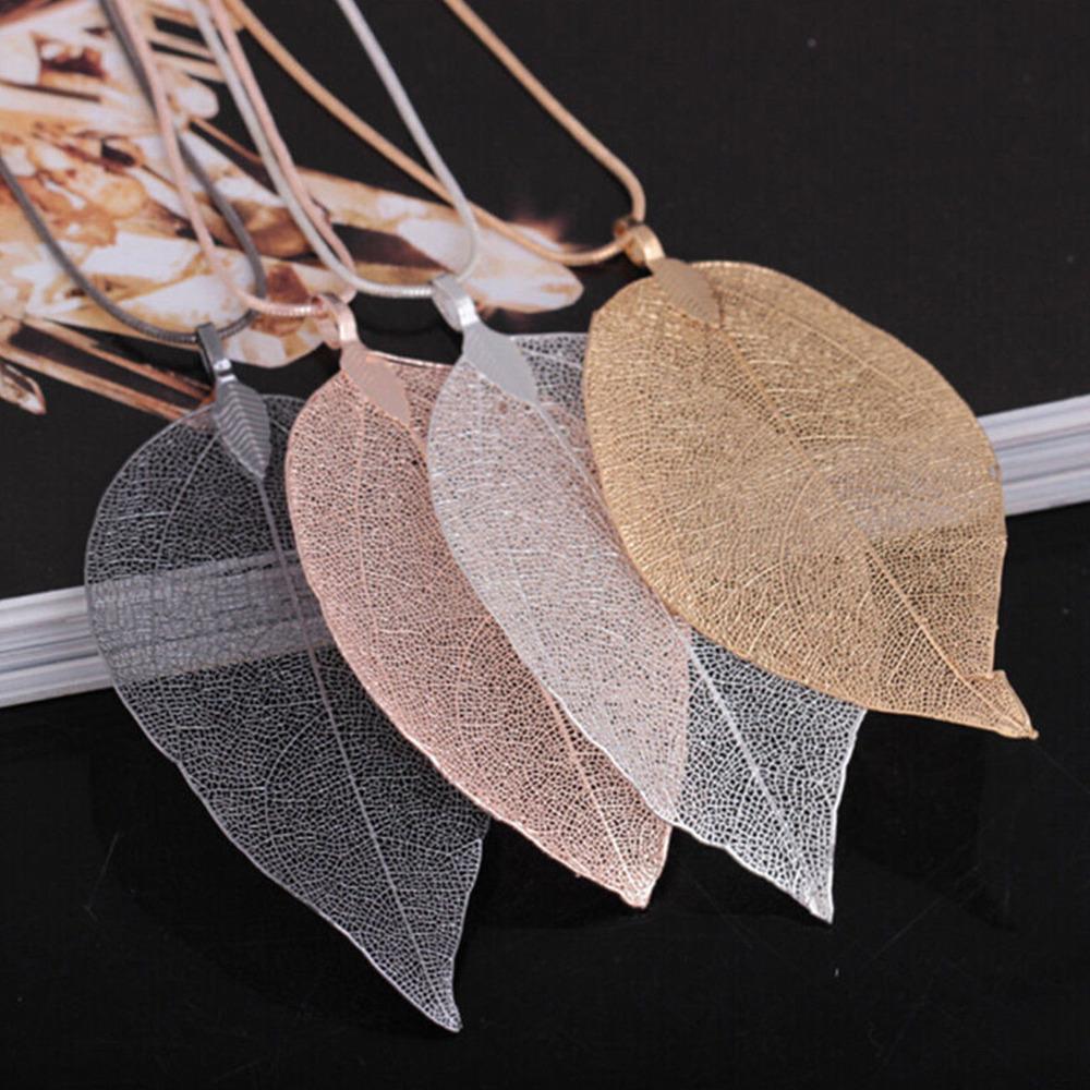 Colliers Feuille différentes couleurs Pendentif Collier à Longue Chaîne