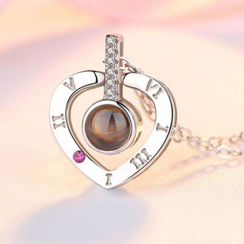 Pendentif Collier Romantique Amour Collier Rose ou cœur  Or et Argent