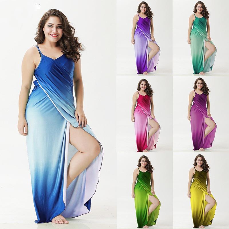 Trés belle robe de plage grande taille en dégradé de couleur