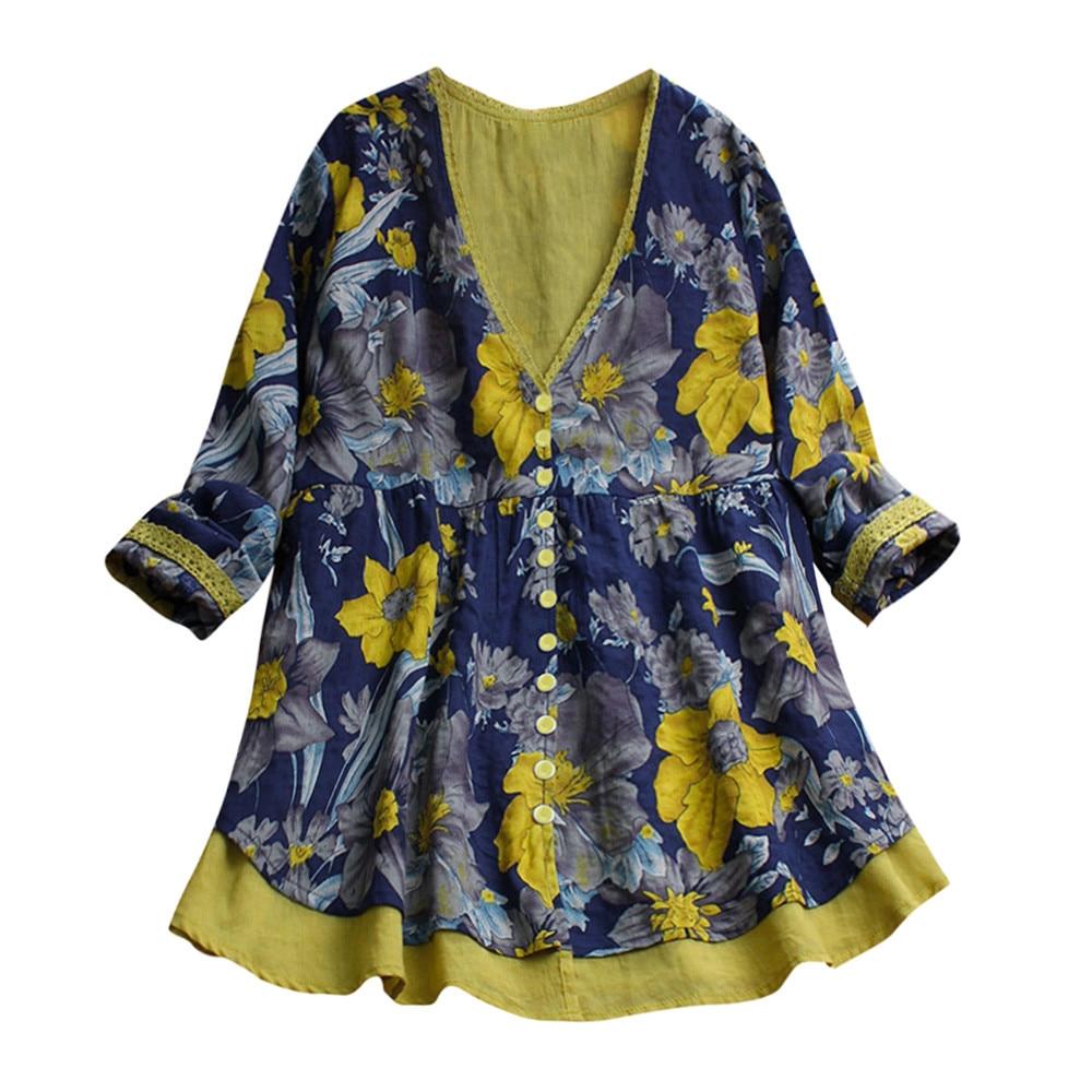 Chemisier-blouse en coton-lin grande taille jusqu'au 5XL