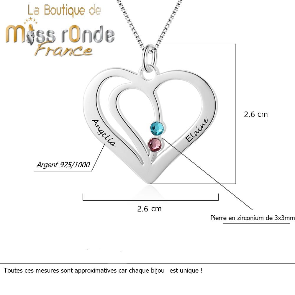 Collier avec pendentif coeur gravé en argent