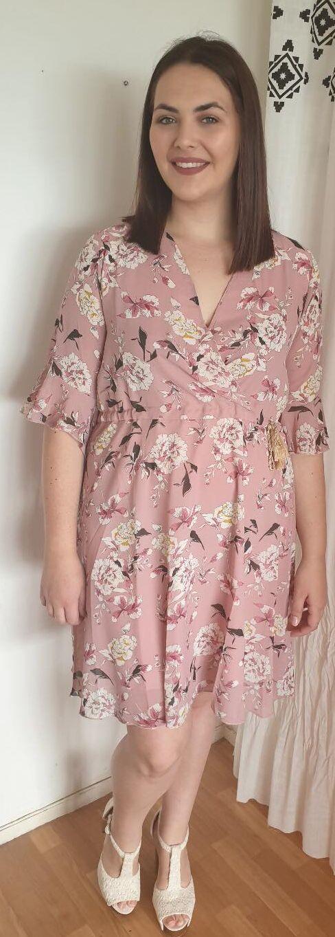 Robes Ambre Style Décontracté grande taille  Col V Imprimé fleurie