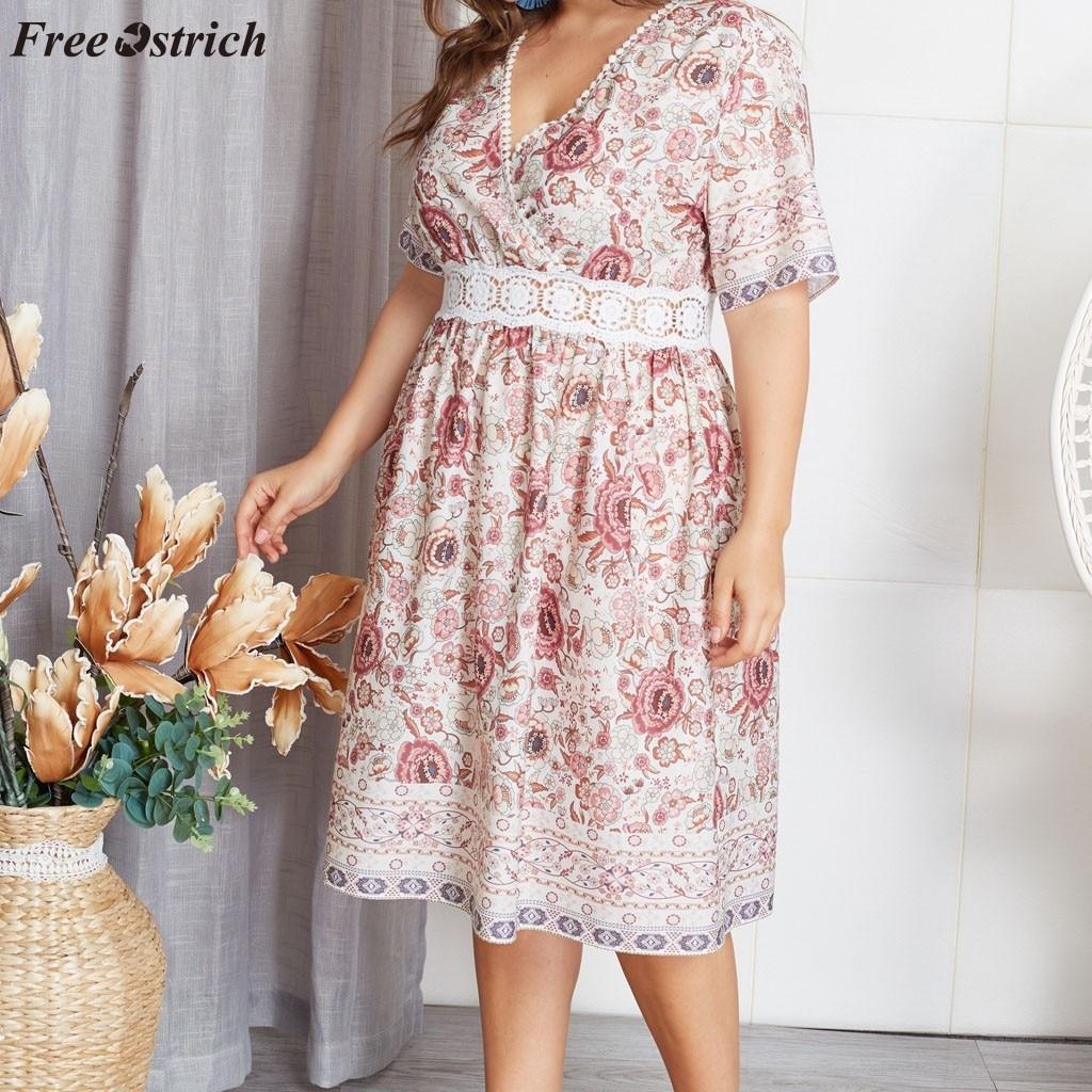 Belle Robe D Ete Florale Col En V Grande Taille Xl 4xl