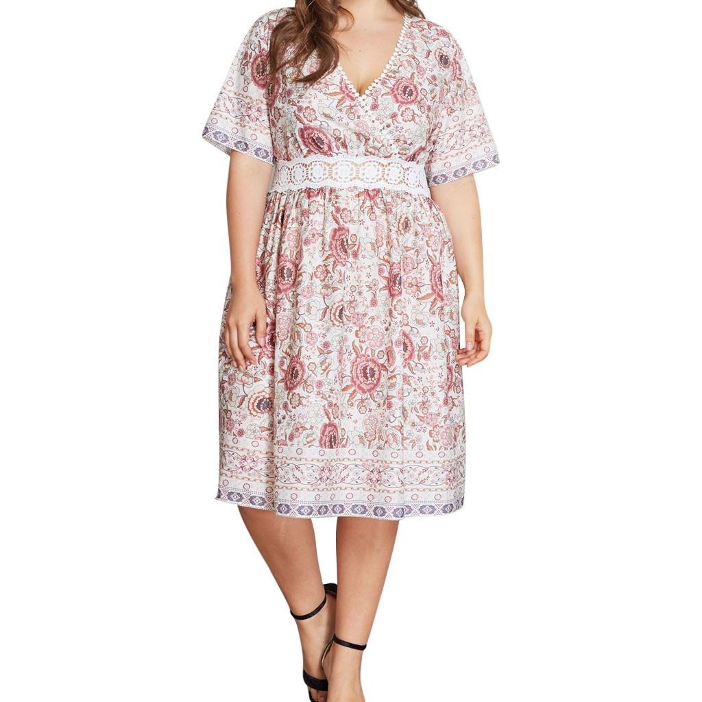 Belle robe d'été florale, col en V, grande taille XL-4XL