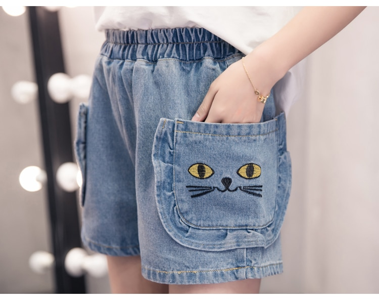 short en Jeans Grande Taille Denim Broderie Chat