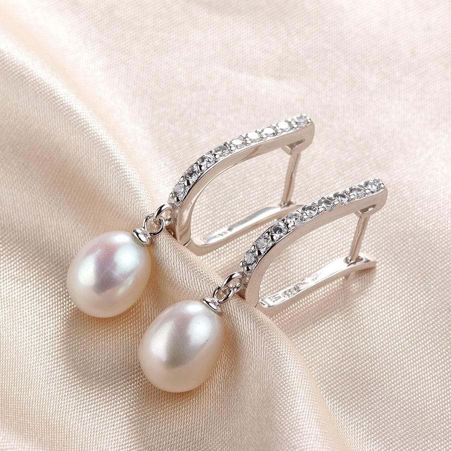 Boucles D\'oreilles en Argent 925 Sterling 8-9 mm Perle Naturelle D\'eau Douce  Bijoux Top Qualité livré avec la Boîte