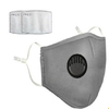 Masque en coton réutilisable avec Valve respiratoire et emplacement filtres à particules gris