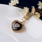 585-or-Rose-trois-concentriques-amour-coeur-cubique-zircone-colliers-et-pendentifs-en-c-ramique-noire