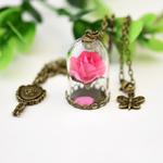 Houbian-r-tro-cristal-collier-Rose-verre-bouteille-collier-beaut-et-la-b-te-sec-fleur