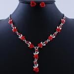 Collier de petites fleurs rouge, rose ou bleu avec boucles assorties_07