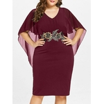 Wipalo-femmes-mode-grande-taille-5XL-broderie-Capelet-Semi-transparent-col-en-V-robe-de-soir